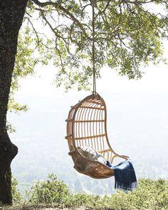 Hanging Rattan Chair via Serena & Lily