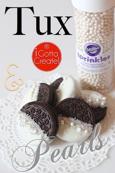 The casual Oreo goes classy! Tuxedo and Pearls Oreo instructions via I Gotta Create! Would be great for a bridal shower.