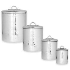 Old Dutch International Hammered Stainless Steel 4-Piece Canister Set - BedBathandBeyond.com