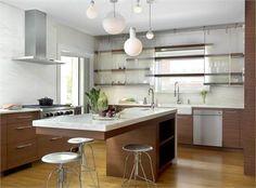 cool wood  glass cabinets on far wall, also cantilevered island http://www.homeportfolio.com/SlideShow/15-winning-kitchen-designs/modern-minimalist#slide
