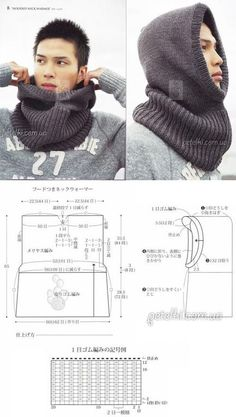 Knit/crochet a rectangle in stitches of your choice until it's a goodly size. Mattress-stitch the top and front of the hood to make a comfortable garment. Hooded cowl for men Knitting Patterns Men Knitted man& snipe / hat-hood with knitting needles. Crochet Hooded Scarf, Crochet Scarves, Crochet Shawl, Crochet Baby, Hooded Cowl, Crochet Top, Crochet Beanie, Loom Knitting, Knitting Patterns Free
