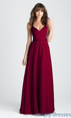 Burgundy Red Long Prom Dress with Deep V-Back-- Simply Dresses