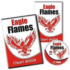 Eagle Flames Vector Clipart Design Collection – CD/Download