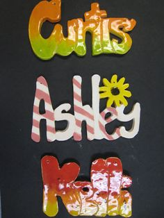 Clay slab cutout names are always a hit with my middle school kids.  They design their name first and we use it as a pattern to cut the clay with a probe. With a limited budget, this uses little clay.  Their second task is to design the word for glazing. We attach wire, etc. for hanging.