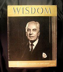 1958 Wisdom Magazine Volume 3 No 27 Arnold J. Toynbee  This issue of Wisdom magazine is dated, September 1958. On the cover is Historian Arnold J. Toynbee, a portrait by Yousuf Karsh of Ottawa. In this issue, you get: Toynbee Master Historian of World History by Tangye Lean, The World's Mecca New York by Jacques Barzun, Will Power by Eugene H. Sloane, Five Evidences of an Education by Nicholas Murray Butler, A Study of History by Arnold J. Toynbee and more.