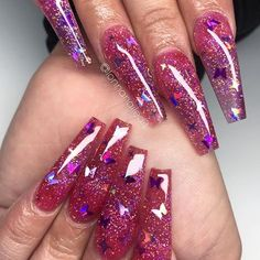Reposted from - 💚💛💚💛💚 - Hot Pink Nails, Rose Gold Nails, Pink Glitter, Glitter Nails, Butterfly Nail, Ballerina Nails, Coffin Nails Long, Nail Trends, Nail Inspo