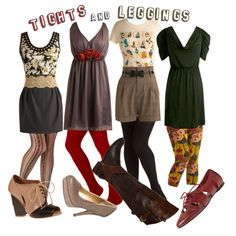 Style Inspiration: How to Wear Tights, created by modcloth on Polyvore