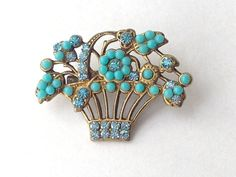 Turquoise and Rhinestone Gold Flower Basket Pin by benjiboyvintage