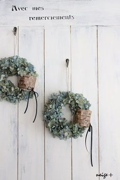 紫陽花ドライのリース&久々DIY壁ドン♪の画像:neige+ 手作りのある暮らし