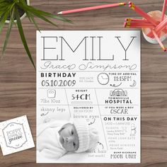A beautiful personalised custom infographic of your child's birth date. It makes a wonderful keepsake that you can treasure forever. As your children grow they will love having a keepsake like this to refer back to. My girl's have them in their room and they love poring over them.  I'm happy to include any information you'd like, but here's a guide of what to include: - A photo of the child (doesn't need to be black and white) - Full Name - Date of Birth - Due Date - Time of Birth - Weight…