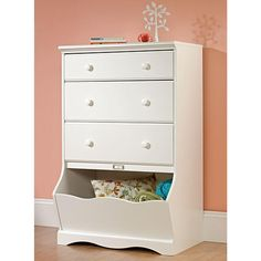 SAUDER Pogo Collection 3-Drawer Chest with Storage Bin in Soft White-414434 - The Home Depot