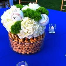 Baseball season is upon us simple centerpiece for sports themed baseball centerpieces peanuts in the vase junglespirit Images