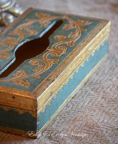 Vintage Italian Florentine Box Blue and Gold by edithandevelyn