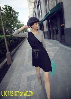 Fake Two Pieces Tilt Shoulder Long Sleeve Dress Black  U10112107  US$8.65 (tax free) on WD.CM