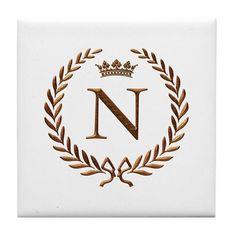 Napoleon initial letter M monogram Tile Coaster by JackTheLads - CafePress N Letter Design, Monogram Design, Lettering Design, Logo Design, Letter N, Initial Letters, Coaster Design, Luxury Logo, Keepsake Boxes