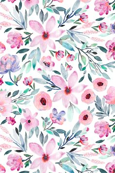 Floral watercolors by indybloomdesign. Beautiful Pink and emerald floral pattern on fabric, wallpaper, and gift wrap. Hand painted watercolor floral design in shades of pink and green. #surfacedesign #design #home #decorate #wrapit #wallpaper #homedecor