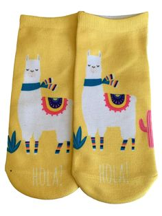 Ladies trainer socks, yellow and white with a Llama pattern to the front, soft and stretchy. UK Ladies shoe size 4 - 7 with Free UK Delivery One size - UK Ladies shoe size 4 - 7 Funky Socks, Cute Socks, Llama Socks, Best Carry On Luggage, Prom Accessories, Gamine Style, Cat Scarf, Cute Little Things, Llamas