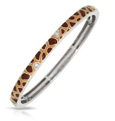 Constellations by Belle Etoile: Giraffe Brown & Yellow Bangle. 925 Sterling Silver. Fashion Jewelry.