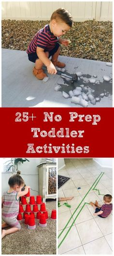 Easy & No Prep Toddler Activities - Million Ways To Mother - - Got a busy little person you need to occupy? Try one of these 25 no prep toddler activities, that don't require you to do anything to prep for the activity. Indoor Activities, Infant Activities, Preschool Activities, Preschool Learning, Baby Learning Activities, Kids Learning Activities, Family Activities, Toddler Play, Baby Play