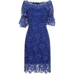 Blue Floral Crochet Lace Bardot Dress (230 BRL) ❤ liked on Polyvore featuring dresses, blue, going out dresses, blue floral dress, sheer party dresses, day party dresses and sheer sleeve dress