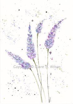 Springtime Lavender  Original watercolor 5x7 by claireswilson, $25.00