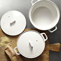 Love these simple pieces / West Elm Market's Ceramic Casserole with Lid is available in black or white and currently on sale for $19.99 for the small and $29.99 for the large.