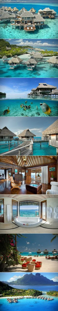 If you dream of white sand beaches, blue lagoons, and overwater bungalows, then you need to pencil in a vacation at the beautiful Hilton Nui Resort in Bora Bora.   Whether you like to lounge by the pool with a cold beer in hand, or hit the open waters for some snorkeling, this resort has it all. This place has 800 meters of white sand beach along with some of the most breathtaking views on planet Earth.