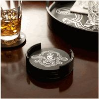Ralph Lauren Black Leather  Skull & Crossbone Coasters