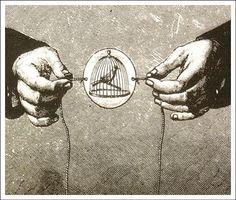 Brinquedo Otico - Taumatropo Inventado por Willian Fitton em 1825, O aparelho era um disco de papelão onde em um lado havia o desenho de uma gaiola e no outro o de um passarinho. Ao fazê-lo rodar sobre um fio esticado, as duas imagens fundiam-se dando a impressão de que o pássaro estava dentro da gaiola.