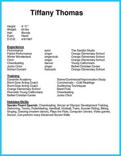 Doc Musical Theatre Resume Builder Acting Examples  Home Design