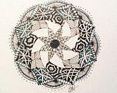 Zentangle Art, Zendala, black, white, teal, 5 x 7 note card print. $5.00, via Etsy.