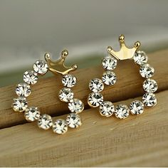 E056 New Fashion Wholesale Ladies Crystal Heart Crown Stud Earrings For Women Jewelry Girl Gift Accessories Brincos Orecchini