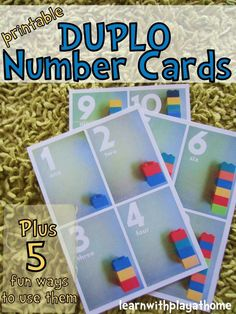 FREE Printable Duplo Number Cards. Plus 5 fun ways to use them!   These cards are a great way to build number sense by pairing manipulatives with numerals.  For students with disabilities, these early counting skills using concrete objects should be practiced frequently to build a good foundation for later math skills.  Uses something almost every teacher has in their classroom.  Download at:  http://www.learnwithplayathome.com/2012/09/printable-duplo-number-cards-plus-5-fun.html