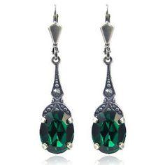 Emerald Earrings Emerald Green Earrings, Swarovski, Shades Of Green, 50 Shades, 1920s, Women Jewelry, Drop Earrings, Jewels, Gemstones