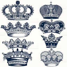 Collection of vector hand drawn crowns in vintage style royalty-free collection of vector hand drawn crowns in vintage style stock vector art & more images of animal's crest Vector Hand, Free Vector Art, Vector Graphics, Vector Vector, Body Art Tattoos, Hand Tattoos, Crown Tattoos, Corona Tattoo, Crown Stencil