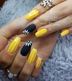 Yellow nails are the most exciting in spring. If you don't believe me, look at these nails - Beauty,now! Bright Colored Nails, Neon Yellow Nails, Yellow Nails Design, Pastel Yellow, Long Square Acrylic Nails, Simple Acrylic Nails, Cute Spring Nails, Bright Summer Nails, Short Pink Nails