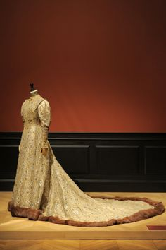 """""""Such authors as Proust, Edmond de Goncourt and Robert de Montesquiou, her uncle, wrote about Greffulhe's outfits, almost turning themselves into fashion critics while minutely reporting on each detail. Such excerpts are displayed alongside the dresses.  """"It's very rare to have so much literature on somebody's outfits,"""" says the museum director.""""Byzantine dress by Worth, 1904"""