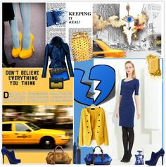 """Blue & Yellow !"" by selmendonca ❤ liked on Polyvore"