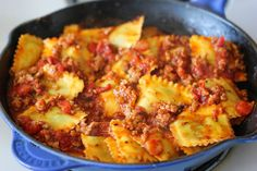 Ravioli and Italian Sausage Skillet - Cheesy comfort food at its best made in less than 30 min. You can't beat that!