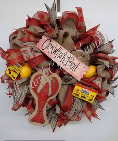 Crawfish wreath. Crawfish boil anyone? Sign painted by Cassie Guilbeau