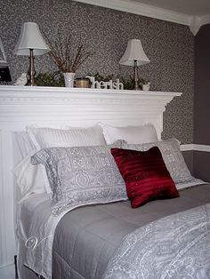 I want to make this headboard!!! It looks so easy, but I need to find a mantel!