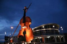 The giant fiddle at the Joan Harriss Cruise Pavilion in Sydney, Cape Breton Island