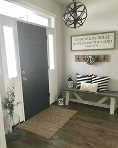 42 Cozy Living Room Farmhouse with Grey Paint Ideas. 42 Cozy Living Room Farmhouse with Grey Paint Ideas. Entryway Paint Colors, Foyer Paint, Paint Doors, Wall Colors, Salons Cosy, Foyer Decorating, Decorating Ideas, Decorating Kitchen, Cozy Living Rooms