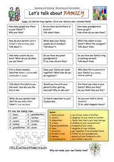 Let's Talk about Family worksheet - Free ESL printable worksheets made by teachers: