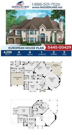 Get to know Plan 5445-00429, a 2-story European home with 4,298 sq. ft., 4 bedrooms, 4.5 bathrooms, two masters, a breakfast nook, a kitchen island, an open floor plan, a media room, and a sitting room. #europeanhome #openfloorplan #architecture #houseplans #housedesign #homedesign #homedesigns #architecturalplans #newconstruction #floorplans #dreamhome #dreamhouseplans #abhouseplans #besthouseplans #newhome #newhouse #homesweethome #buildingahome #buildahome #residentialplans… European House Plans, Best House Plans, Dream House Plans, House Floor Plans, Media Room Decor, Media Room Design, Floor Plans 2 Story, Country Modern Home, Video Game Rooms