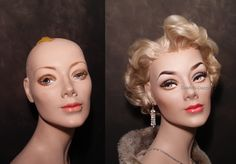 1950's restored mannequin bust before & after