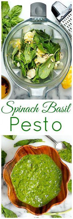 Super Healthy Spinach Basil Pesto (Vegan // Dairy Free // Gluten Free) use cashews instead of pine nuts Healthy Recipes, Dairy Free Recipes, Whole Food Recipes, Healthy Snacks, Vegetarian Recipes, Healthy Eating, Cooking Recipes, Dairy Free Pesto, Healthy Pesto