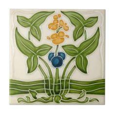 AN107 Art Nouveau Reproduction Antique Tile