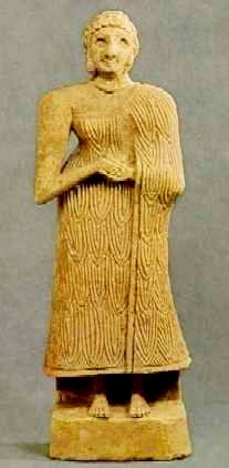 Sumerian Standing Female found in Dayala khafaji, about 2600 B.C. Sumerian culture was male-dominated, but the women enjoyed some legal rights they had not in other cultures (they lacked a fair few too, though). Elderly councils included both men and women. Women could buy and sell property and run businesses. Richer women could get an education, and become priestesses,