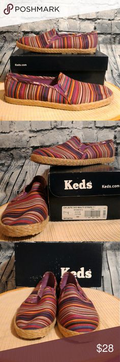 """Keds CH Jute S/O Multi Stripe Espadrilles 9M Keds Champion jute Slip On Multi Stripe Espadrilles 9M. Cute Espadrilles with unique designs and colors! Mostly purple and raspberry shades! These shoes are still in excellent condition and feels firm. But you can see how the bottom is kind of worn and see the slight white marks in the inside of the heel. These shoes have cushioned insoles, shock proof  Archcusion and cushioned heels. Shoes are 10 1/2"""" long and 3 1/2"""" wide and size M or B. Retro…"""